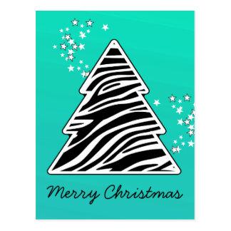 Turquoise zebra Christmas Tree Postcard