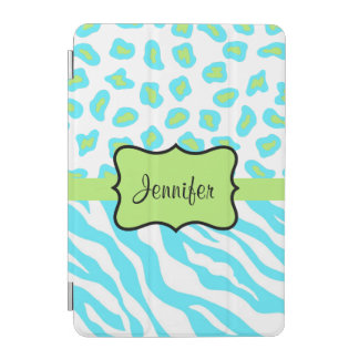 Turquoise Zebra Leopard Skin Name Personalized iPad Mini Cover