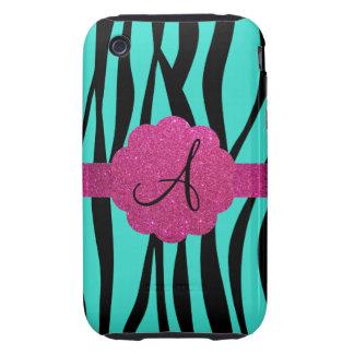 Turquoise zebra stripes monogram tough iPhone 3 covers