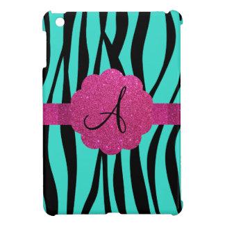 Turquoise zebra stripes monogram iPad mini cases