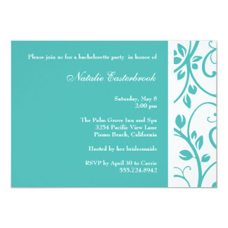 "TurquoiseFloral Vine Bachelorette Party Invitation 5"" X 7"" Invitation Card"