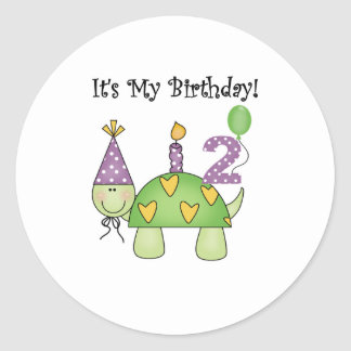 Turtle 2nd Birthday Round Sticker