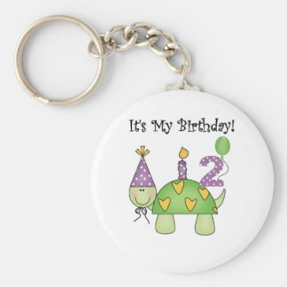 Turtle 2nd Birthday Tshirts and Gifts Basic Round Button Key Ring