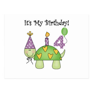 Turtle 4th Birthday Tshirts and Gifts Postcard