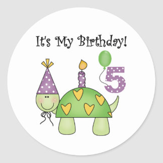 Turtle 5th Birthday Tshirts and Gifts Round Sticker