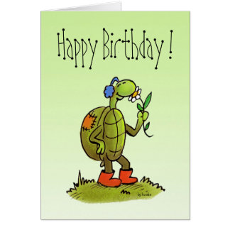 turtle and flower birthday card