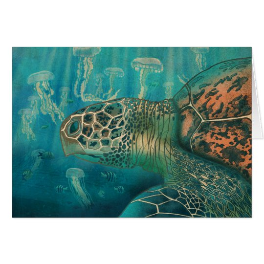 Turtle and jellyfish card