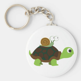 Turtle and Snail Basic Round Button Key Ring