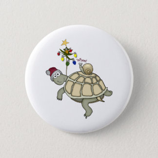 Turtle and Snail Christmas 6 Cm Round Badge