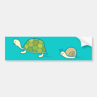 Turtle and Snail Doodle Art Bumper Sticker