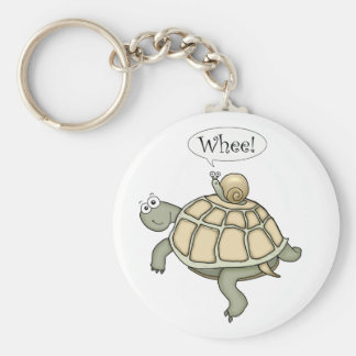 turtle and snail Whee! Basic Round Button Key Ring