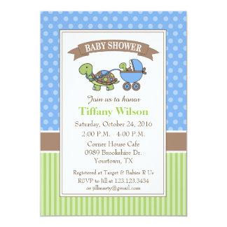 Turtle Baby Shower Invitation blue