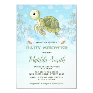 Turtle Baby Shower Invitation Under The Sea Ocean