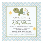 Turtle Baby Shower Invites With Daisies For Boys 13 Cm X 13 Cm Square Invitation Card