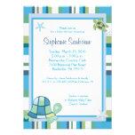 Turtle Bay Blue Stripe Boy/Girl Baby Shower 5x7 Announcement