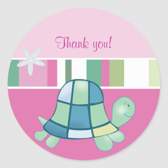 Turtle Bay Pink Round Thank you Favour Sticker
