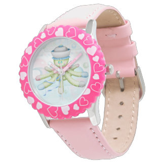 TURTLE BEAR CARTOON Bezel with Pink Numbers Watch