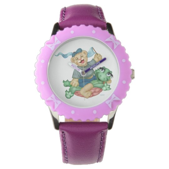 TURTLE BEAR CARTOON Bezel with Purple Ribbons Watch