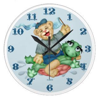 TURTLE BEAR CARTOON LARGE ROUND CLOCK 2