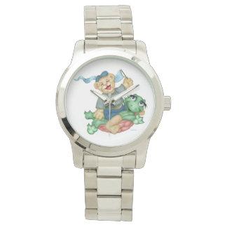 TURTLE BEAR CARTOON Oversized Silver Bracelet Watch
