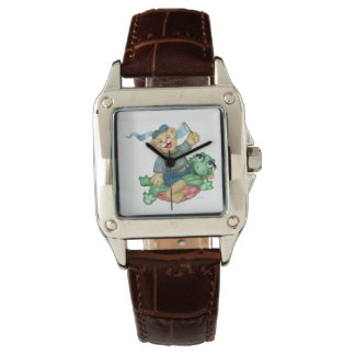 TURTLE BEAR CARTOON Perfect Square Brown Leather Wristwatch