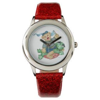 TURTLE BEAR CARTOON Red Glitter Watch