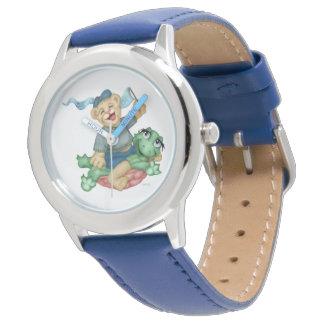 TURTLE BEAR CARTOON Stainless Steel Blue Watch