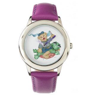 TURTLE BEAR CARTOON Stainless Steel Purple Watch