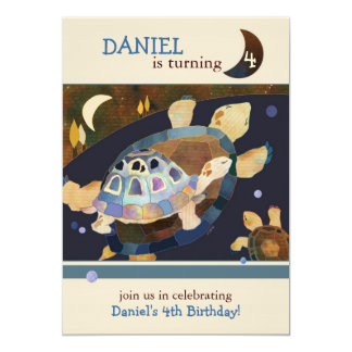 Turtle Birthday Party for Kids 13 Cm X 18 Cm Invitation Card