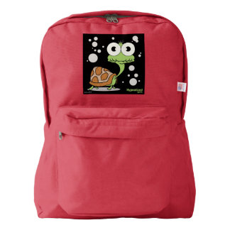 Turtle(Black Bg) Backpack, Red Backpack
