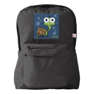 Turtle(Blue Bg) Backpack, Black Backpack