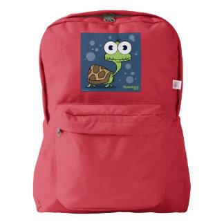 Turtle(Blue Bg) Backpack, Red Backpack