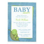 "Turtle Blue Polka Dot Baby Shower Invitations 5"" X 7"" Invitation Card"