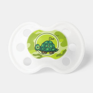 Turtle bright green camo camouflage baby pacifiers