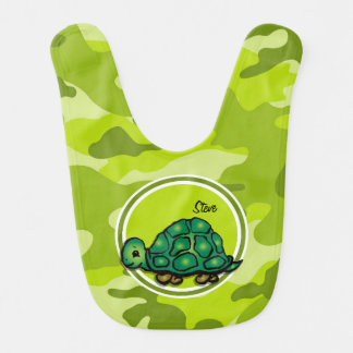 Turtle bright green camo camouflage baby bib