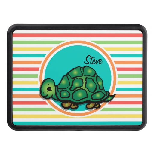 Turtle; Bright Rainbow Stripes Tow Hitch Cover