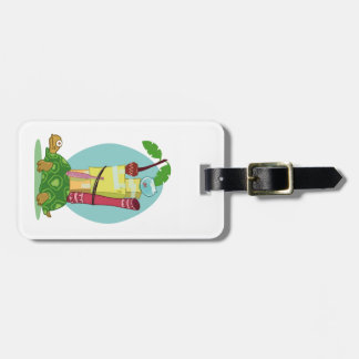 turtle carrying home items cartoon luggage tag