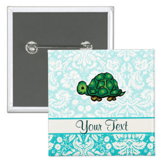 Turtle; Cute 15 Cm Square Badge
