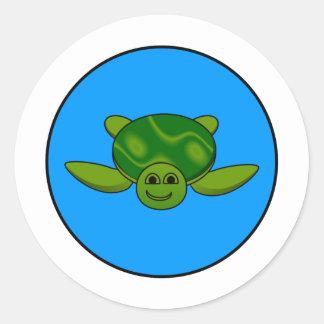 Turtle design round sticker