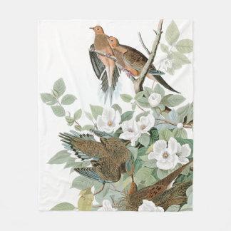 Turtle Dove Birds Audubon Flowers Fleece Blanket