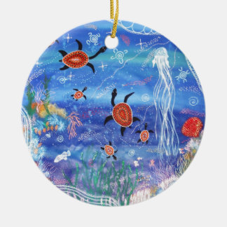 Turtle Dreaming Round Ceramic Decoration