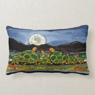 Turtle Family and Moon Night Scene Designer Pillow