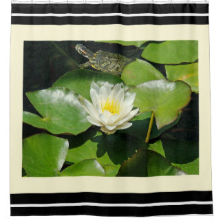 Turtle Flowers Animals Wildlife Waterlily Lilypads Shower Curtain