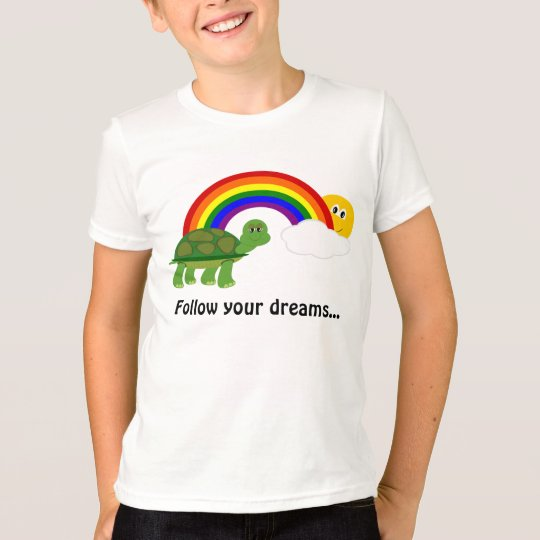 Turtle Following Rainbow Follow your Dreams T-Shirt