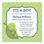 Turtle Green Dots Baby Shower Invitations 13 Cm X 13 Cm Square Invitation Card