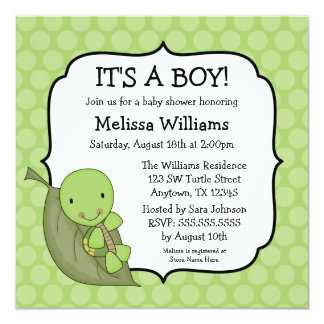 Turtle Green Dots Baby Shower Invitations