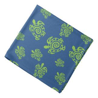 Turtle Green on Blue Kerchief