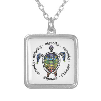 Turtle Harmony Sm Silver Plated Square Necklace