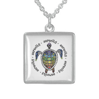 Turtle Harmony Sterling Silver Square Necklace