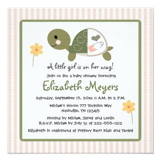 Turtle In Diapers Baby Shower Invitations Pink